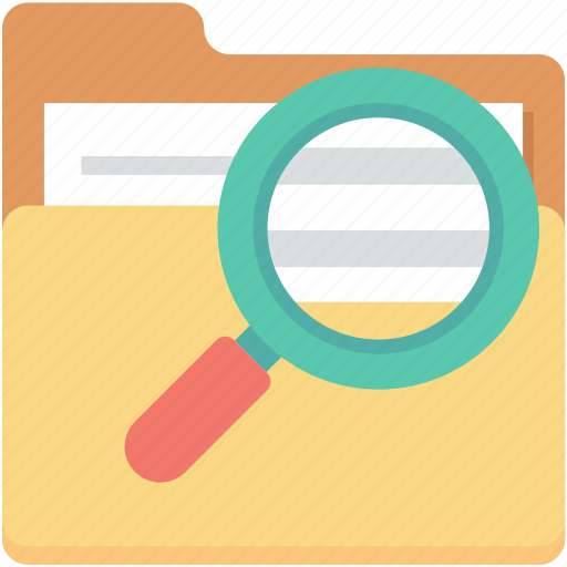 documents, folder magnifying, magnifier, search folder, search in folder icon
