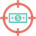 dollar, earning target, finance, money target, profit target icon