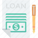 agreement, banking, loan contract, loan papers, papers icon