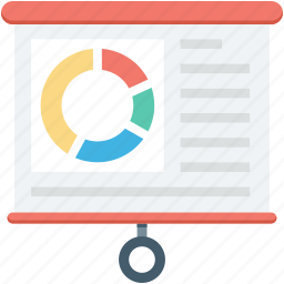 business graph, flipchart, growth chart, presentation screen, projection screen icon