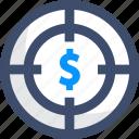 cost, money, target icon