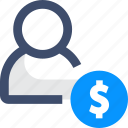 dollar, earn money, salary, user, wage icon