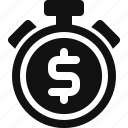 deposit, dollar, money, timer icon