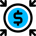 dollar, profit, shrink, tax icon