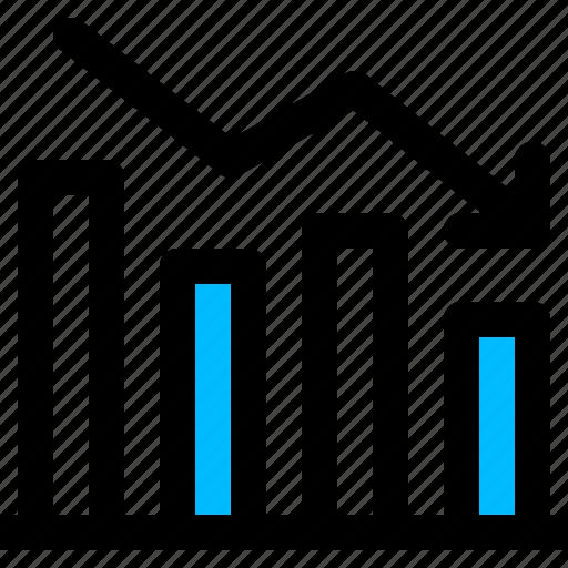analysis, chart, decrease, financial, graph icon