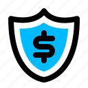 money, protected, security, shield icon