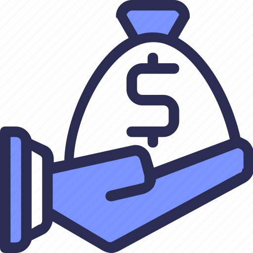bag, business, finance, give, hand, investment, money icon