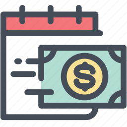calendar, money, payday, payment, plan, salary, schedule icon