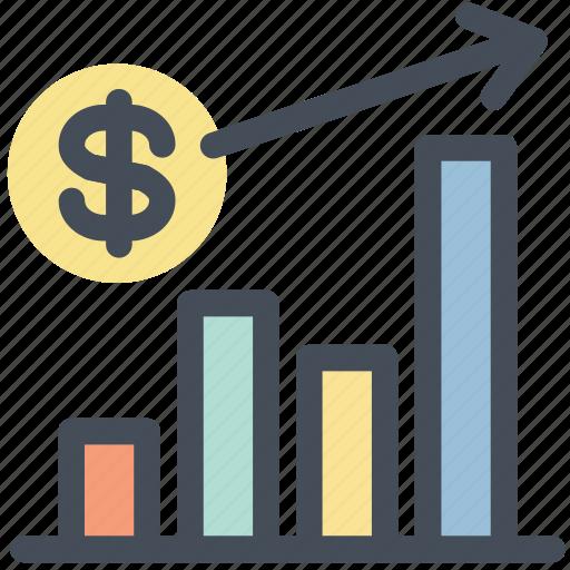 analytics, currency, dollar, graph, growth, money, statistics icon
