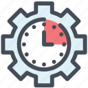 clock, gear, manage, management, settings, time, watch icon
