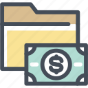 budget, dollar, folder, money, papers, project, value icon