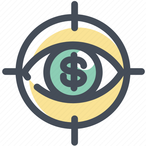 analytics, dollar, eye, report, sales, view, watch icon