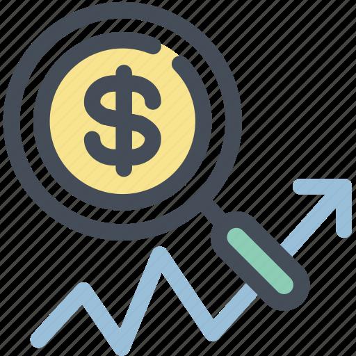 business, document, explore, magnifier, report, sales, statistics icon