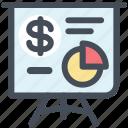 analytics, blackboard, diagram, dollar, presenation, sales report, statistics icon