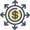 enlarge, expand, finance, growth, increase, money, planning icon
