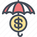 finance insurance, protect, protection, secure investment, umbrella icon