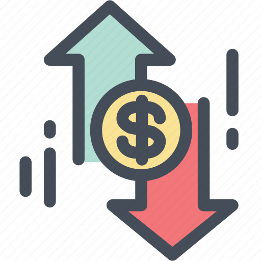 charge, circulation, cycle, dollar, down, money, up icon
