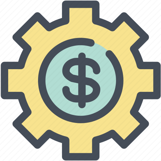 business, dollar, gear, investment, manage, management, settings icon