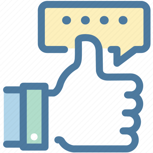 feedback, hand, message, positive, review, thumb, thumbup icon