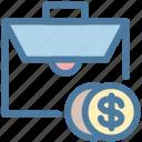 bag, briefcase, budget, case, cash, coin, dollar icon