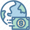 business, currency, dollar, exchange, international, planet, world icon