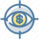analytics, dollar, eye, report, sales, view, watch icon