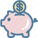 cash, guardar, money, money box, pig, piggy, save, saving icon