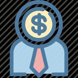 coin, dollar, head, investment, mind, money, startup icon