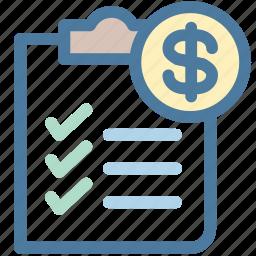 clipboard, document, dollar, invoice, money, report, sales report icon