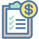 clipboard, document, dollar, invoice, money, report, sales report icon