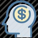 coin, dollar, head, investment, mind, money, startup