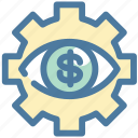 dollar, eye, money, setting, vision icon