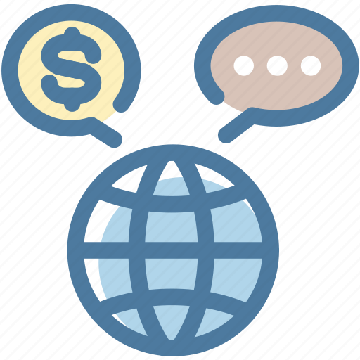 currency, dollar, exchange, international, message bubble, trade, world icon