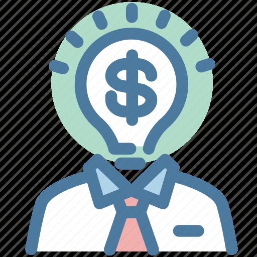 business, businessman, coin, dollar, investor, money, thinker icon