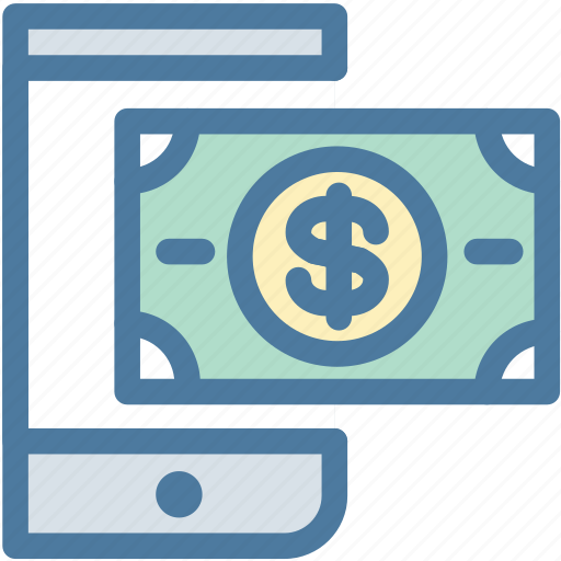 cash, hand, holding, mobile, money, payment, transfer icon