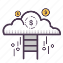cloud, cloudy, coin, finance, money, success, weather icon