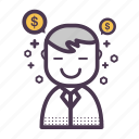 chat, finance, good, money, smile, success, user icon