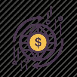 exchange, finance, global, globe, international, trade, world icon