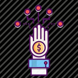 branch, concept, dollar, earn, finance, hand, money icon
