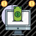 computer, concept, dollar, earn, finance, income, money icon