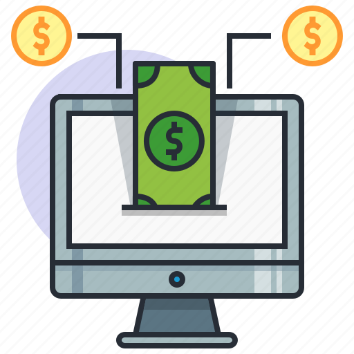 computer, concept, dollar, earn, finance, income, money icon