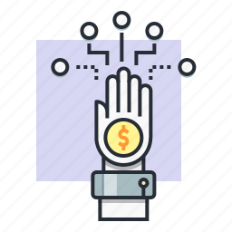 branch, concept, dollar, earn, finance, hand, money icon