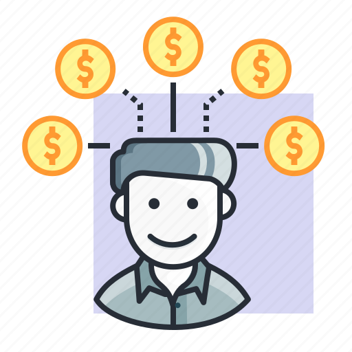 concept, dollar, earn, finance, money, people, user icon