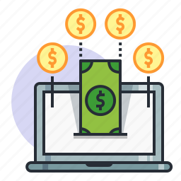 concept, dollar, earn, finance, income, laptop, money icon
