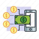 concept, dollar, earn, finance, income, mobile, money icon