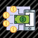 concept, dollar, earn, finance, income, mobile, money icon