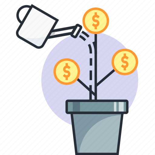 concept, dollar, earn, finance, money, plant, water icon