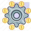 concept, dollar, earn, finance, money, setting, settlement icon