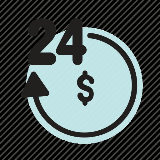 bank, finance, hour, money, service icon