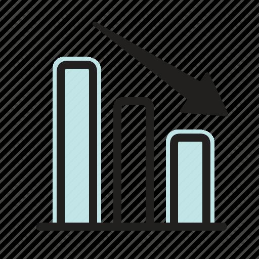 down, graph, loss, marketing, sales, statistics icon